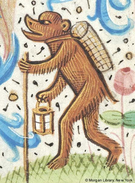 Monkey walking upright, holding walking stick in left hand, lantern in right hand, and wearing basket on back | Book of Hours | France, Paris | 1480-1500 | The Morgan Library & Museum