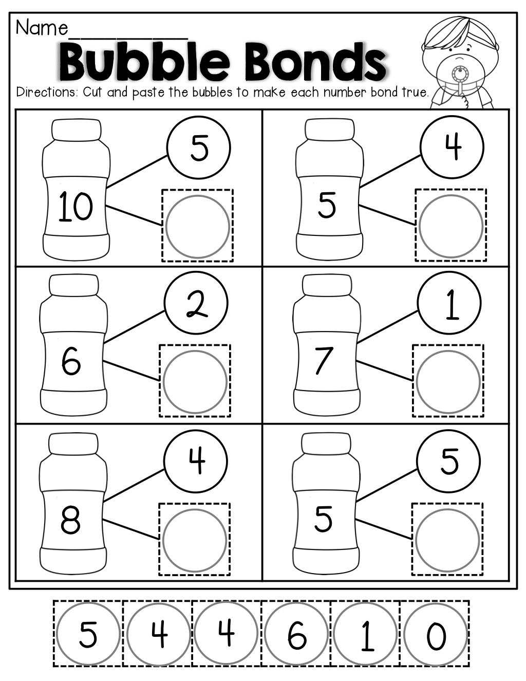 number bubble bonds cut and paste kindergarten activities pinterest number math and. Black Bedroom Furniture Sets. Home Design Ideas