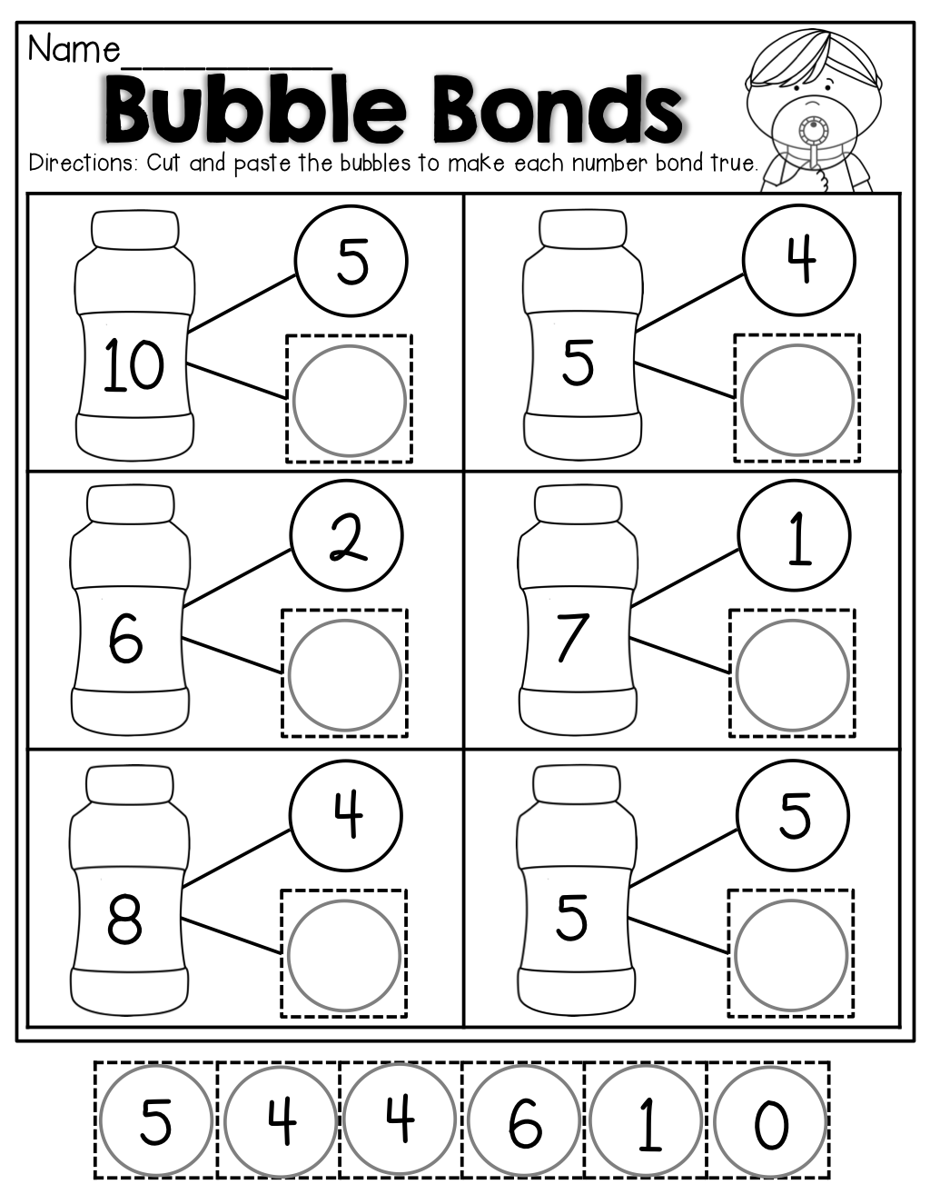 Worksheets Number Bonds Worksheets number bubble bonds cut and paste kindergarten activities paste