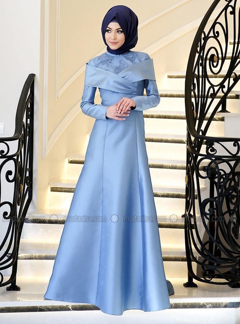 04ec88c4df86d Blue - Fully Lined - Crew neck - Muslim Evening Dress - Minel Aşk ...