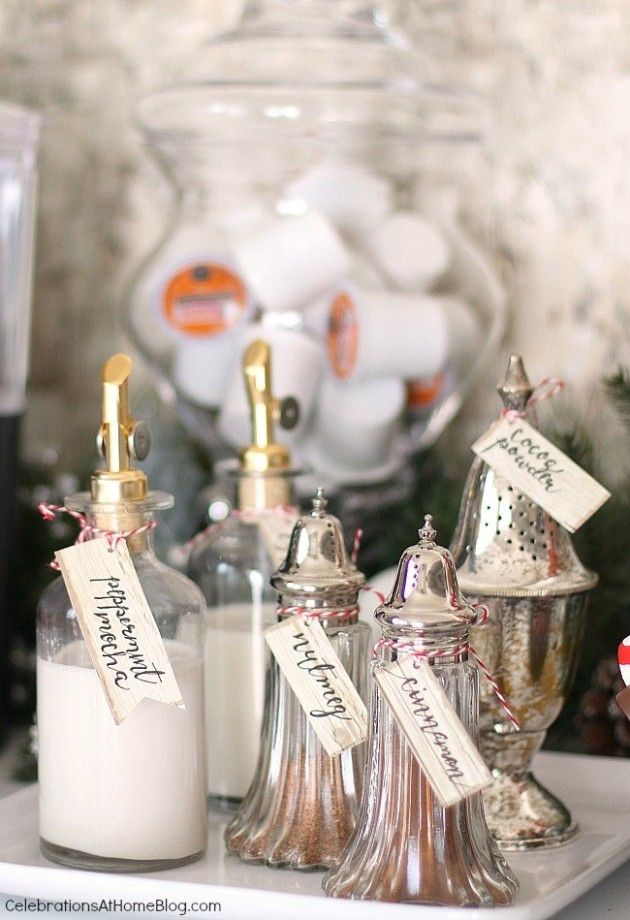 Holiday hot cocoa bar and sweets. Silverplate shakers