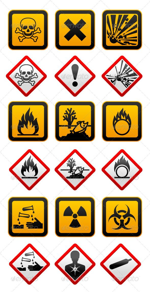 New And Old Hazard Symbols Graphicriver New And Old Hazard Symbols