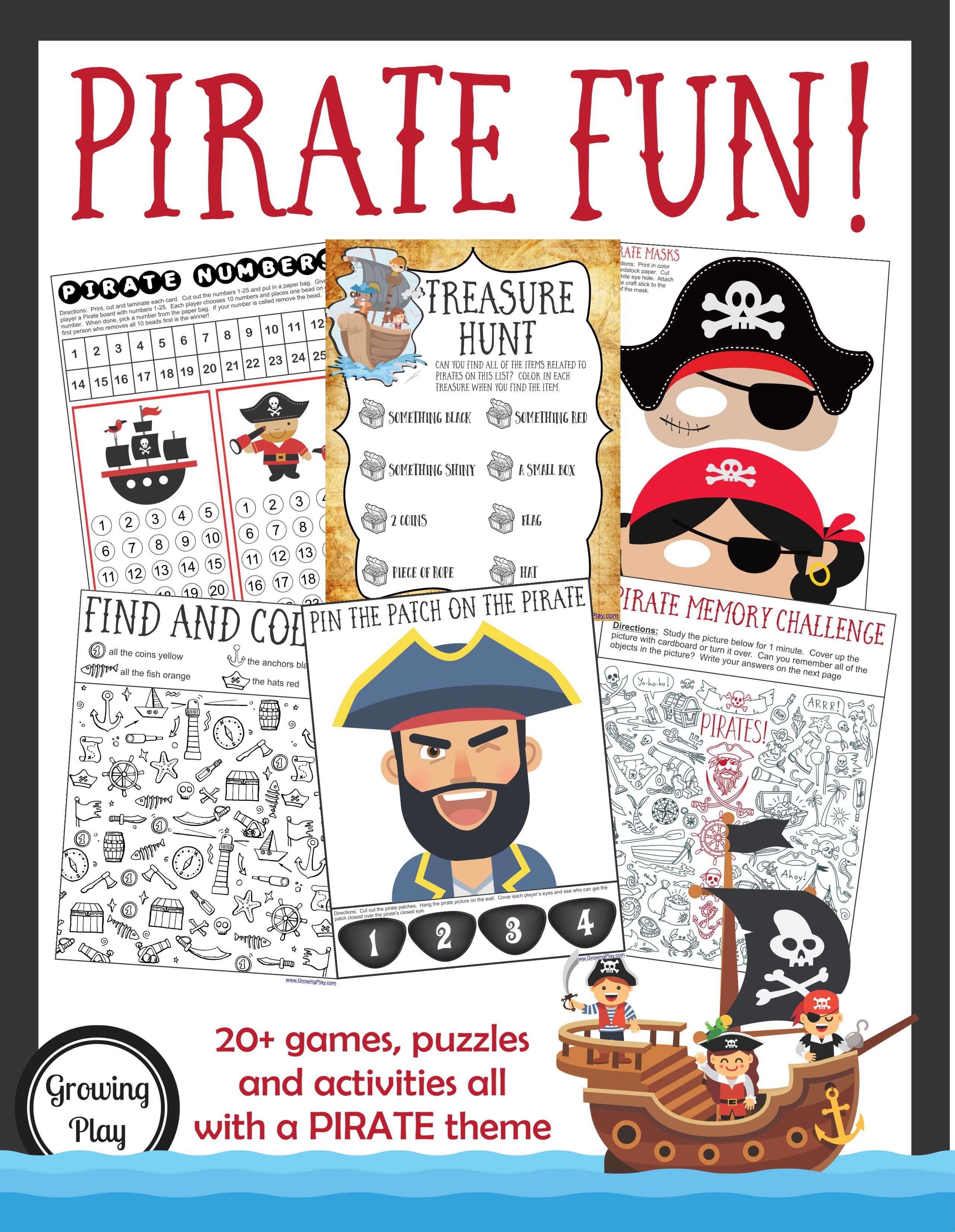 Pirate Games Activities Packet Fine Motor Gross Motor And Visual Perceptual Skills Your Therapy Source Pirate Birthday Games Pirate Games Pirate Party Games [ 3309 x 2564 Pixel ]