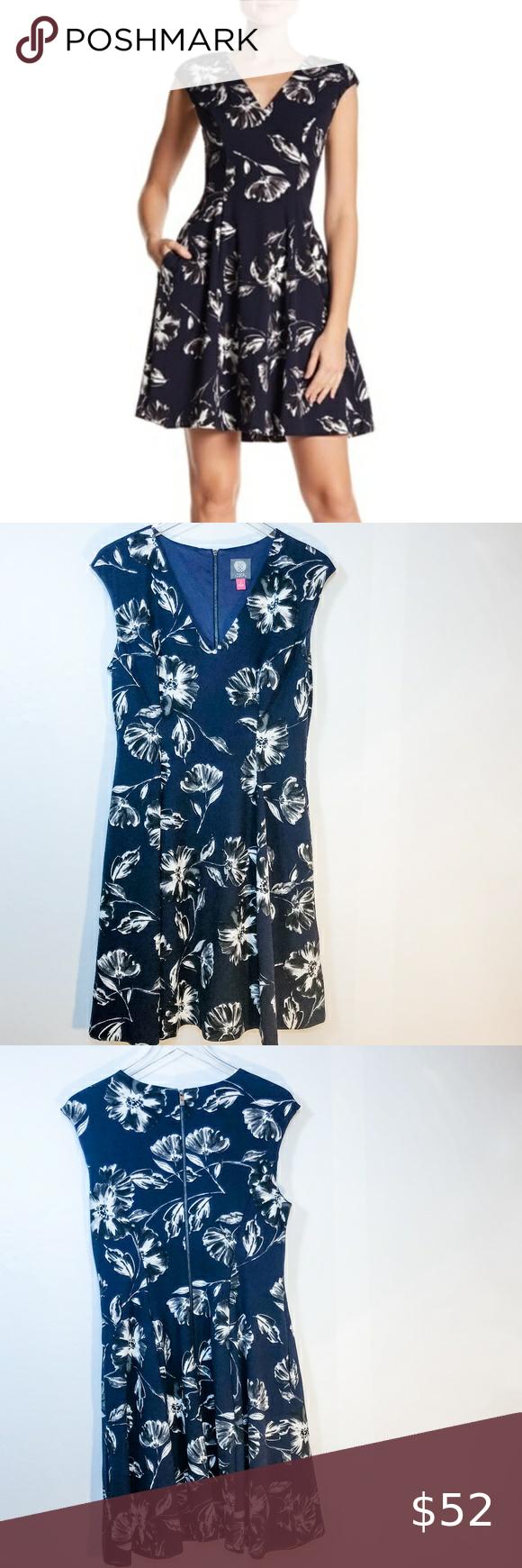 Vince Camuto Floral V Neck Scuba Dress Scuba Dress Clothes Design Dresses [ 1740 x 580 Pixel ]
