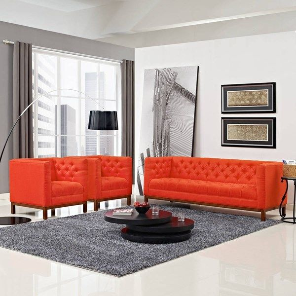 Panache Vintage Atomic Red Fabric Solid Wood Foam 3pc Living Room Set Cheap Living Room Sets Living Room Sofa Set Living Room Sets