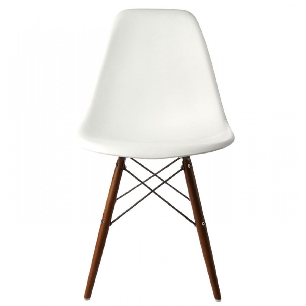 Set Of 4 Eames Style DSW Molded White Plastic Dining Shell Chair With Dark  Walnut Wood