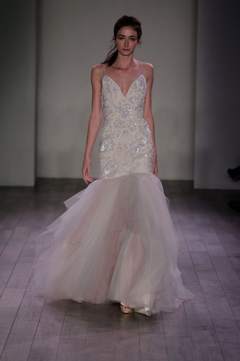 Floral print wedding dresses  FlowerPrint Dress by Hayley Paige  Article Whimsical Gowns