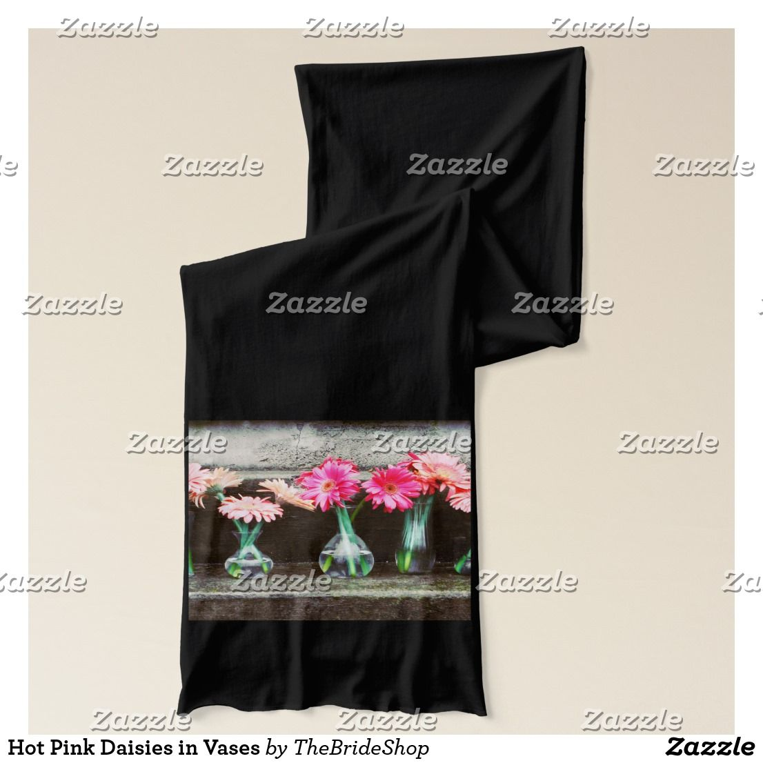 Hot Pink Daisies In Vases Scarf