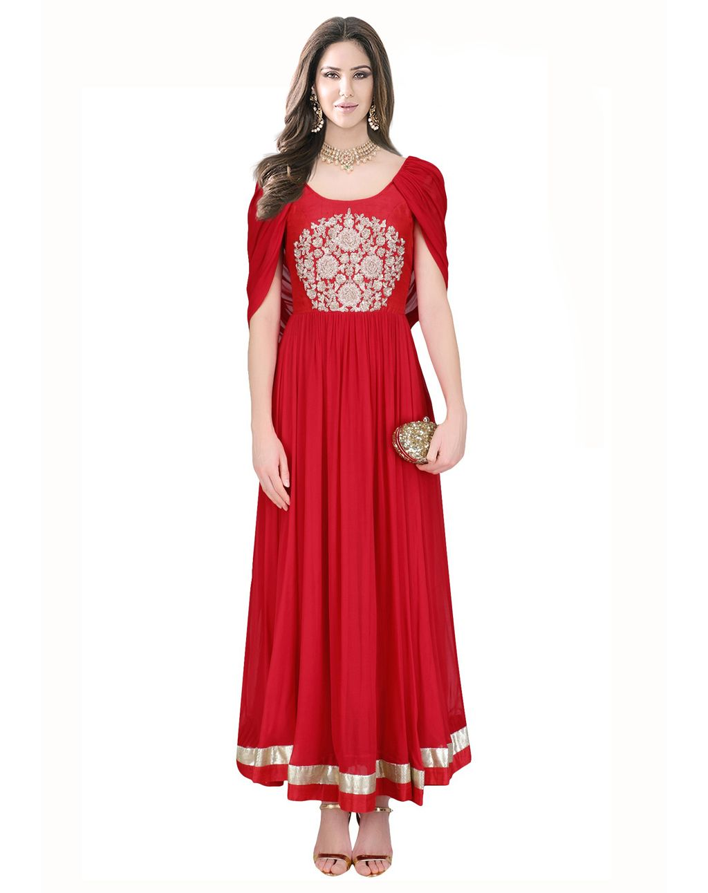 Red Crepe Silk Readymade Party Wear Gown 79532 | desi & mehndi ...
