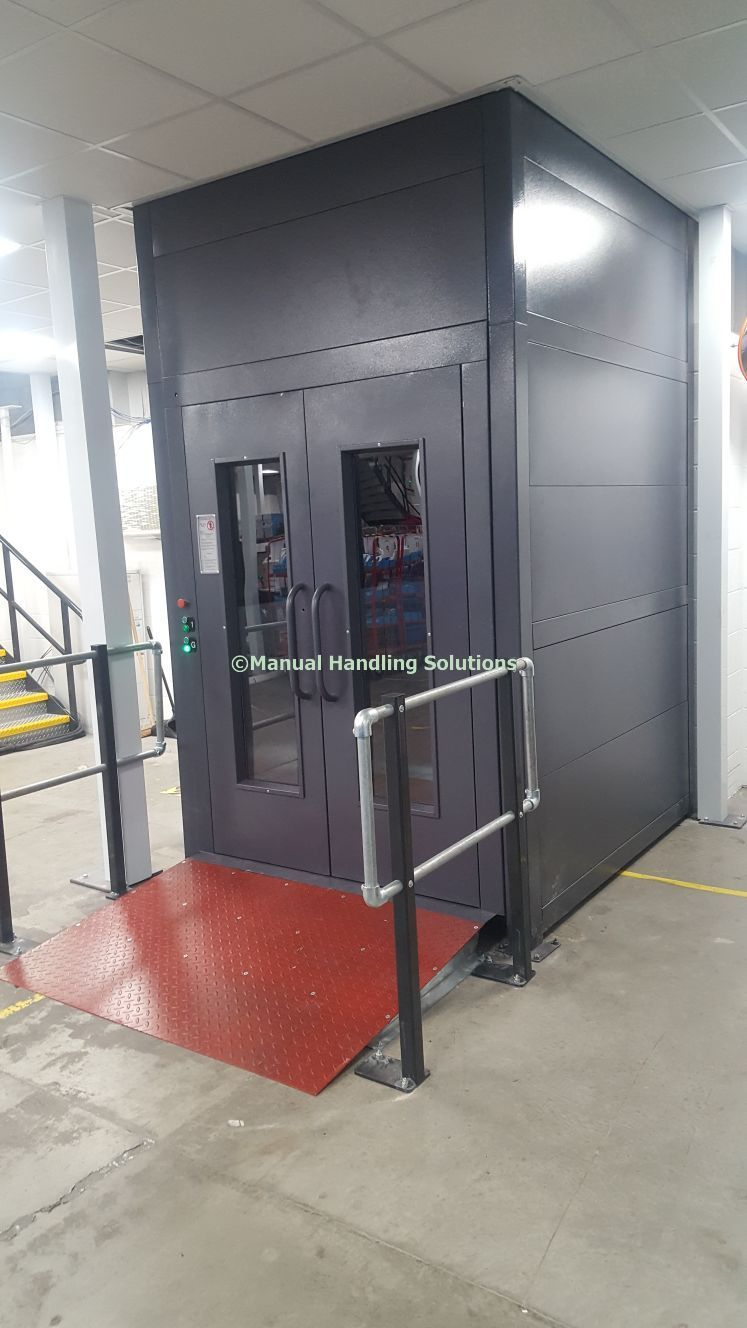 Mezzanine Goods Lift with run on ramp finsihed Grey clad