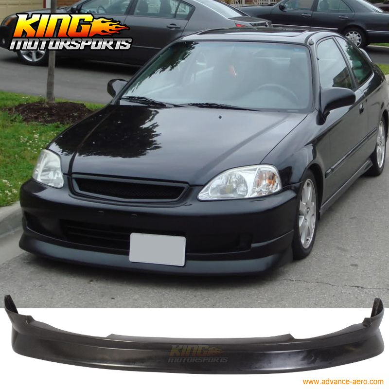 Cs Style Front Bumper Lip Spoiler Wing Pu Fit Honda Civic Ek 2 3 4 Dr 99 00 Honda Civic 2000 Honda Civic Civic