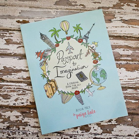 Travel Theme Adult Coloring Book, Passport to Imagination ...