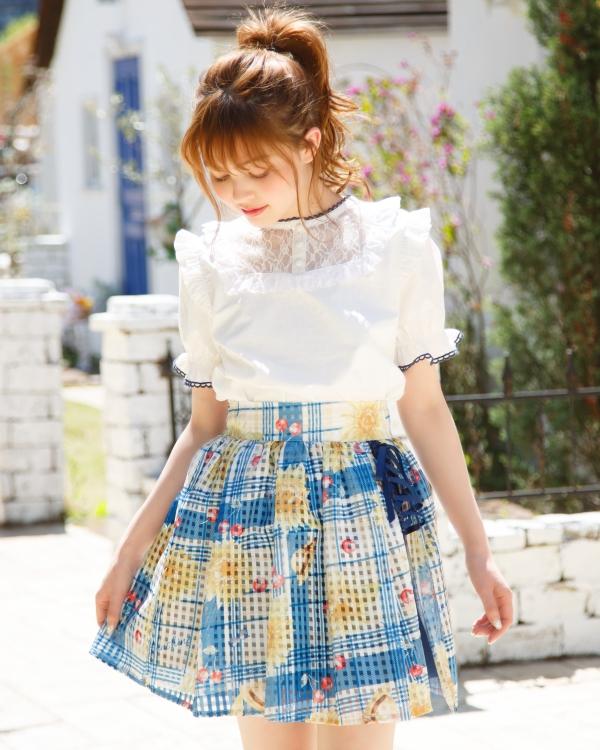 japan fashion kawaii lolita LIZ LISA Check Frill Cache-coeur Skirt