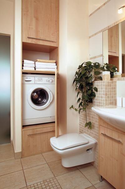 Ideas de c mo integrar la lavadora en un ba o ba o for Mueble lavadora secadora