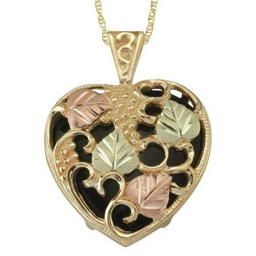 Womens fashion jewelry black hills gold onyx shadowbox heart womens fashion jewelry black hills gold onyx shadowbox heart pendant necklace aloadofball Gallery