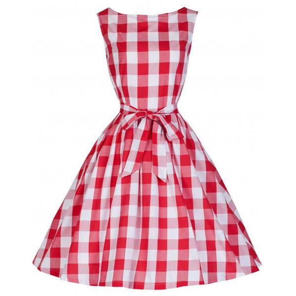 Audrey Red Checked Gingham Swing Dress by Lindy Bop ❤ liked on Polyvore featuring dresses, red rockabilly dress, bow dress, bow tie dress, tie dress and rockabilly swing dress