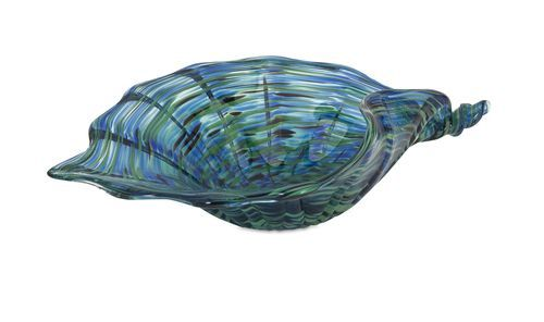 Add a sense of the sea to your tabletop decor with this large seashell inspired, handcrafted, foodsafe artisan Reef Blue Glass Shell Bowl created in vibrant iridescent sea blues and deep greens.
