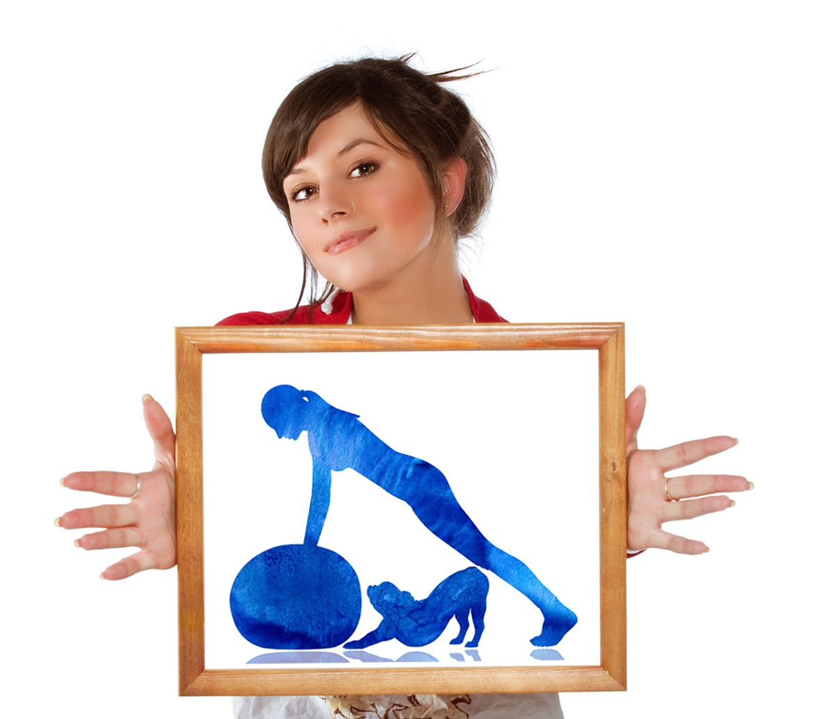 Yoga wall decor, Woman and a dog print, Woman and French
