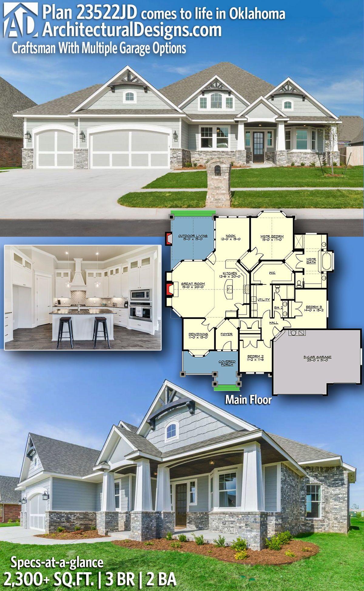 Plan 23522jd Craftsman With Multiple Garage Options Craftsman House Plans Home Design Floor Plans Architecture House