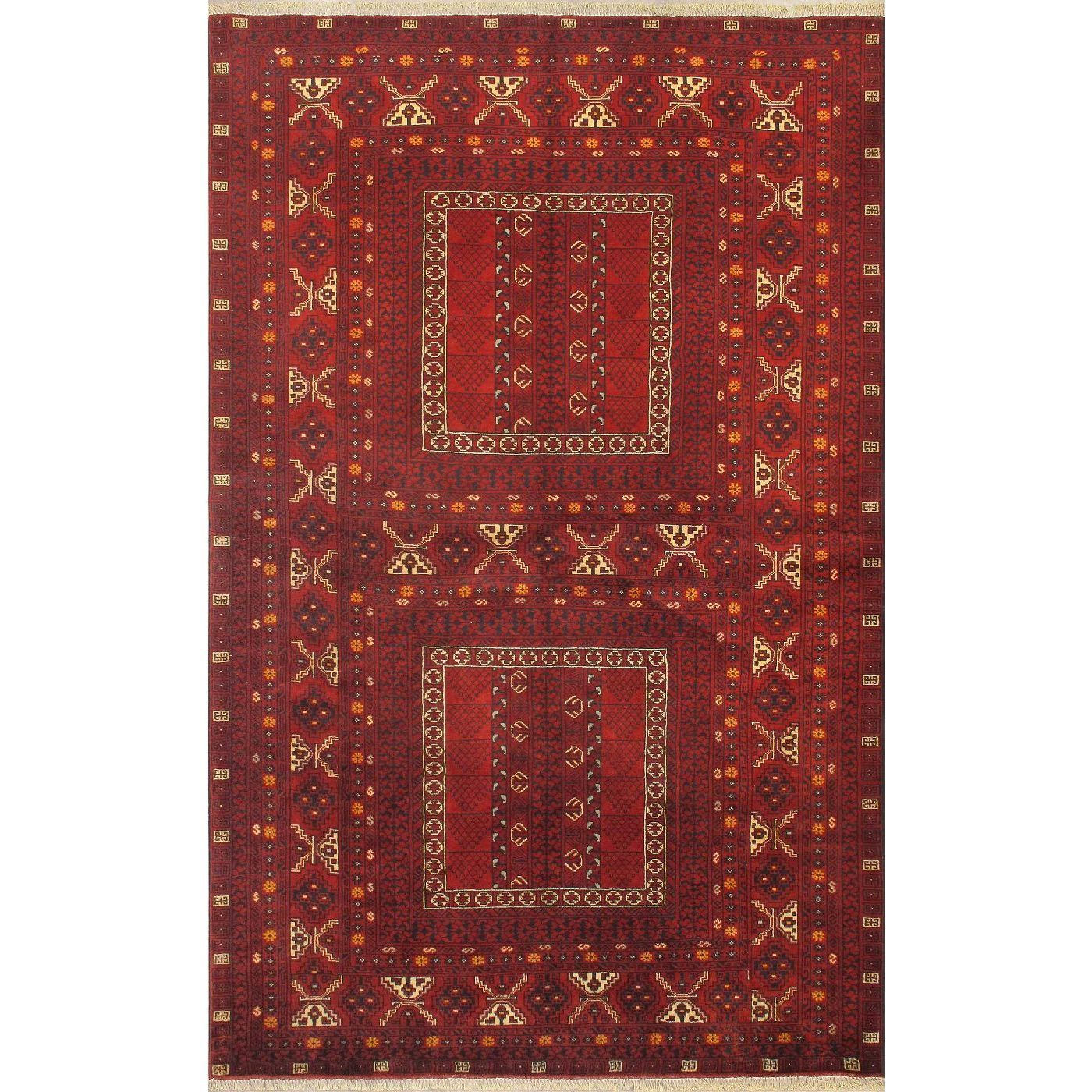 ecarpetgallery Hand-knotted Finest Khal Mohammadi Red Wool Rug (5'3 x 8'3) (Red Light Burgundy Rug (5' x 8')), Black, Size 5' x 8' (Cotton, Oriental)
