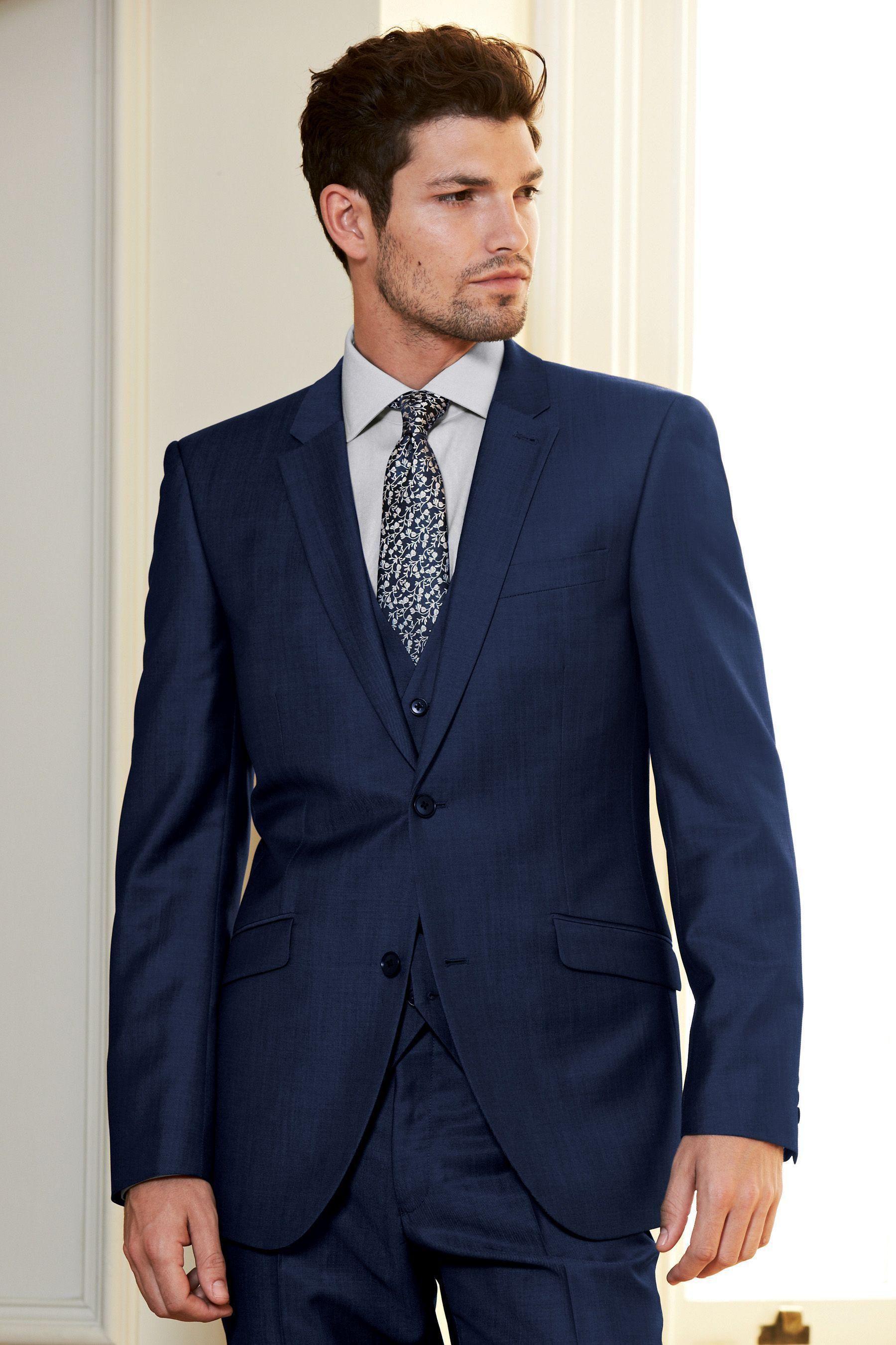 2016 Fashion Color Pocket Flaps Slanted Navy Blue Suits groom ...