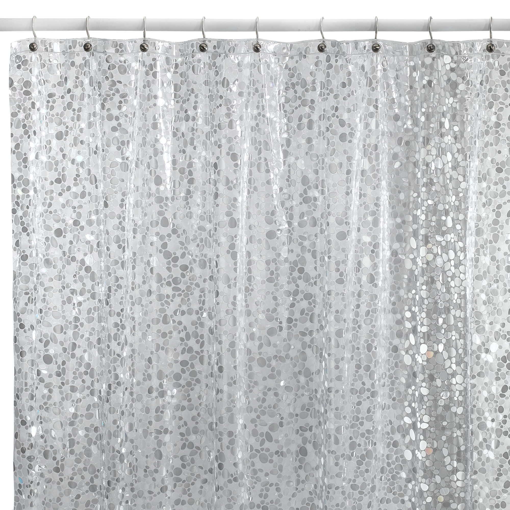 Pebbles Shower Curtain In Clear Vinyl Shower Curtains Silver