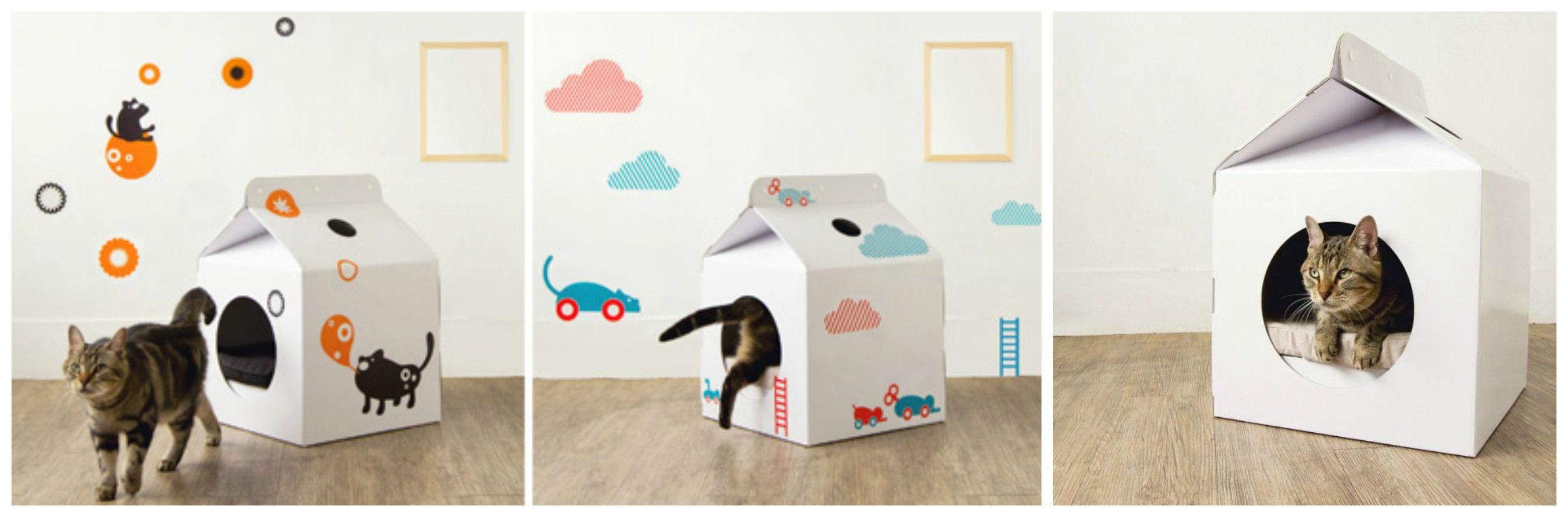 Картинки домиков из коробок для котов