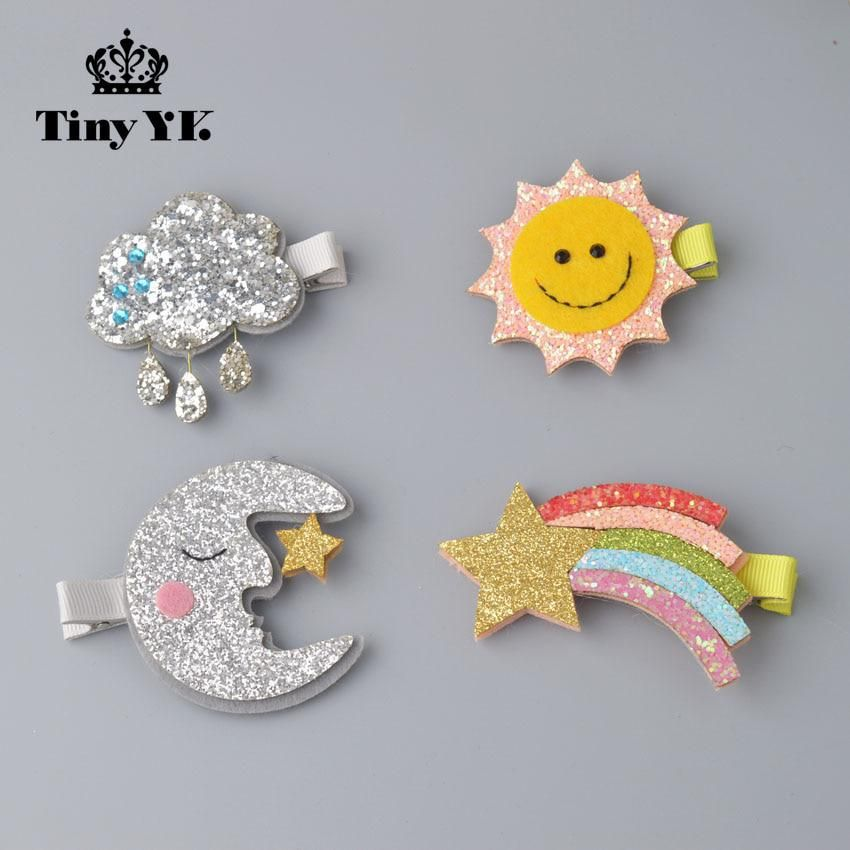 Personality Sun/Moon/Cloud/Rainbow hairpins Sparking Kids Barrettes Decoration Girl Hair Accessory kids hair clips accessories. Yesterday's price: US $1.06 (0.94 EUR). Today's price: US $0.77 (0.69 EUR). Discount: 27%. #kidshairaccessories