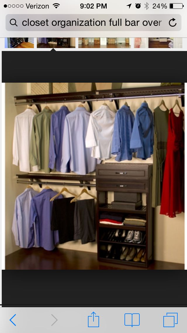 Closet Organization With A Full Shelf And Bar Over A Half Bar With Shelving Closet Shelving System Closet System Closet Organizing Systems
