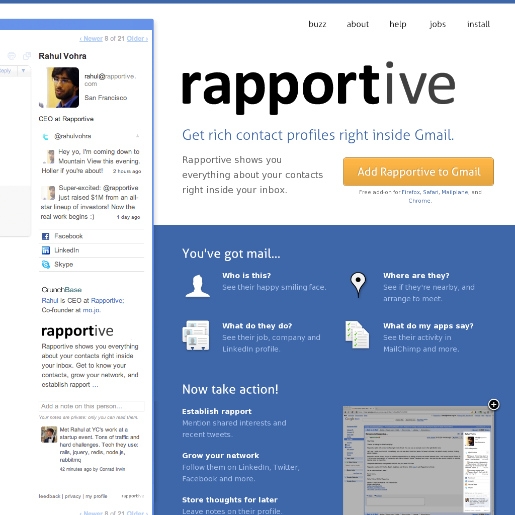 rapportive is for the google gmail user if you use gmail youll