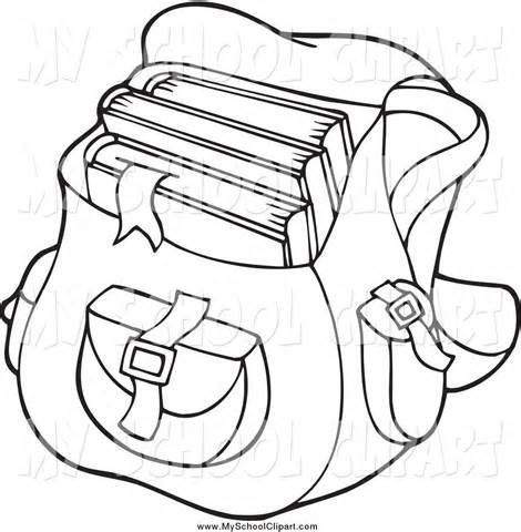 Book Bag Black And White Clipart