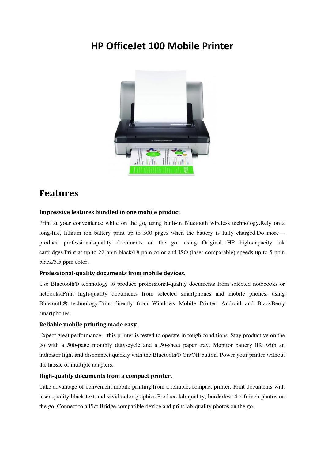 Hp Officejet 100 Mobile Printer Mobile Printer Hp Officejet Printer