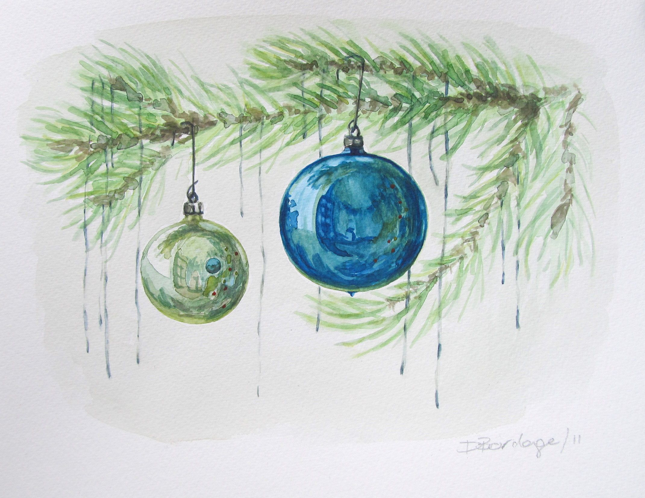 Watercolour Wednesday — Blue Christmas Ornaments Christmas Tree