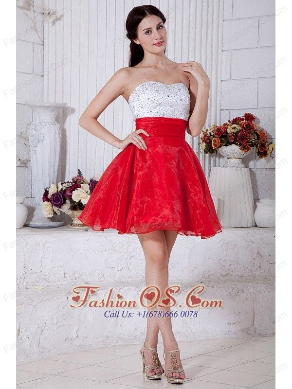Red and White A-line Strapless Short Prom / Homecoming Dress ...