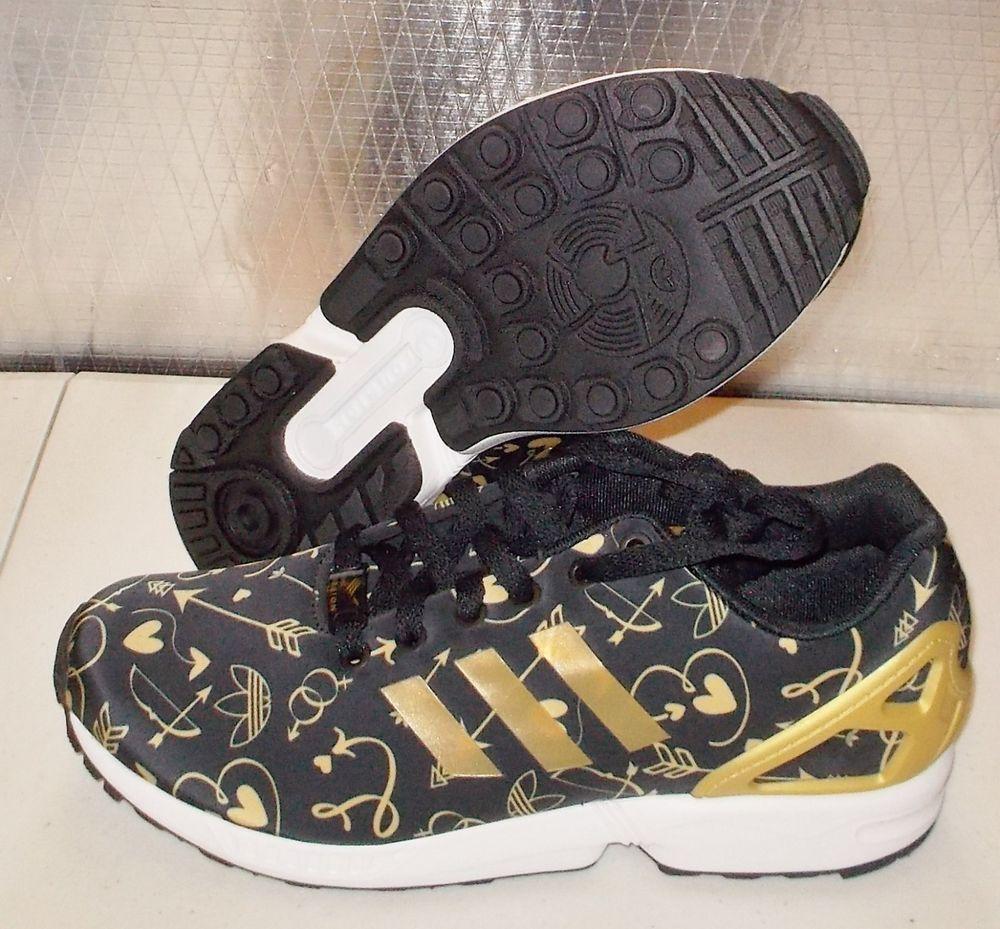 buy online a09bb 7f6d0 ADIDAS ZX FLUX Originals WOMENS B27462 Black Gold Arrow HeartTorsion NEW   Adidas  Athletic