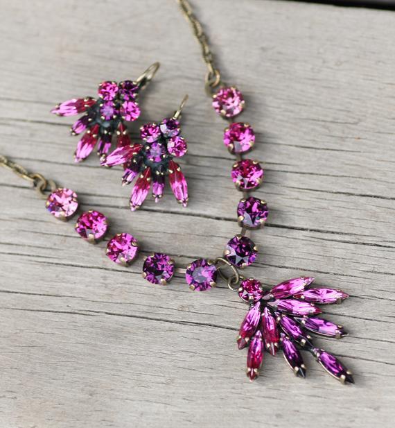 0b3dc36fc ONLY 1 Swarovski Fuchsia Purple Crystal Cluster Necklace Earring Set,Bright  Pink & Purple Embellishe
