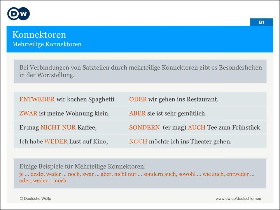 Deutsche Grammatik: Konnektoren | Zukünftige Projekte | Pinterest ...