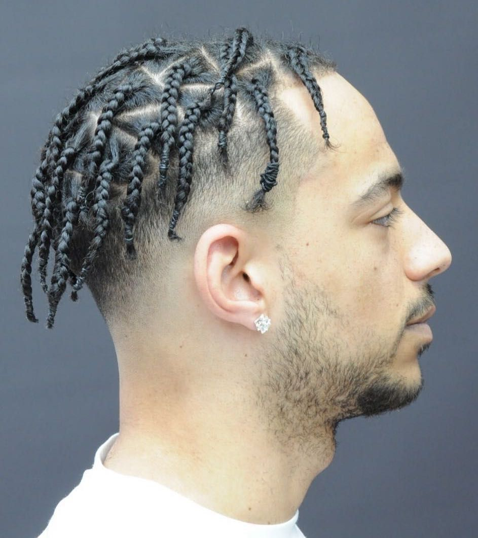 Braided Top And Faded Side Don T Let The Number Of Braids Scare You This Hairstyle Looks Inc Mens Braids Hairstyles Braids For Short Hair Braided Hairstyles