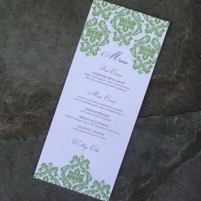 Reception Menu Template  Damask Design Detail  Menu Templates