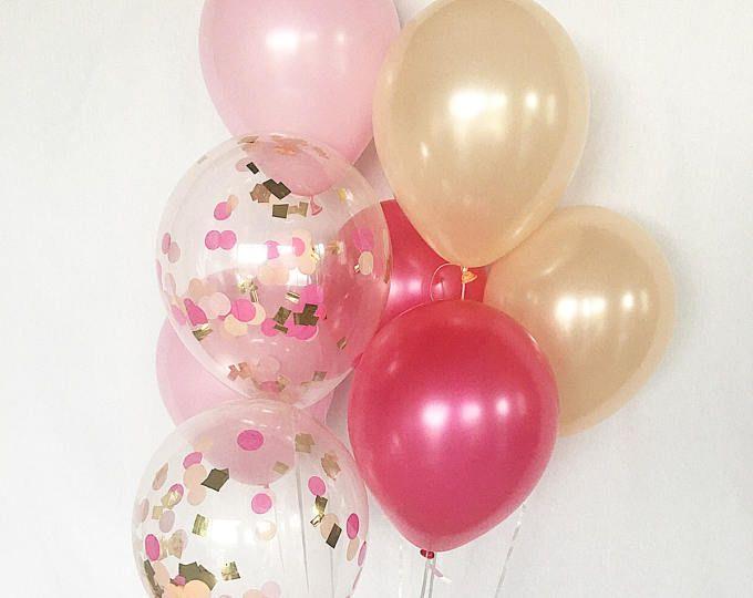 6 X CONFETI Globos 1st Cumpleaños Fiesta Niñas Rosa Y Oro