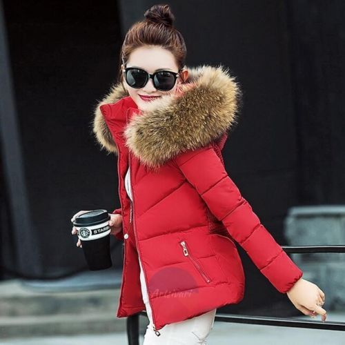 Artsivaris Women Winter Jacket Fur Hoodie Parka Outwear Warm Padded