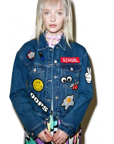 #DollsKill #Roller #Girl #lookbook #photoshoot #slappin' #patches #denim #jacket #jean #patch #oops #school #smiley #egg