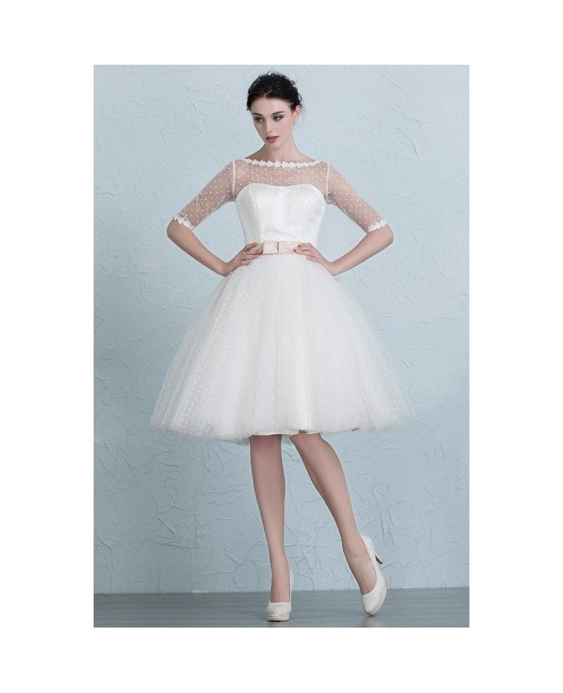 Vintage short wedding dresses polka dot knee length tulle style with