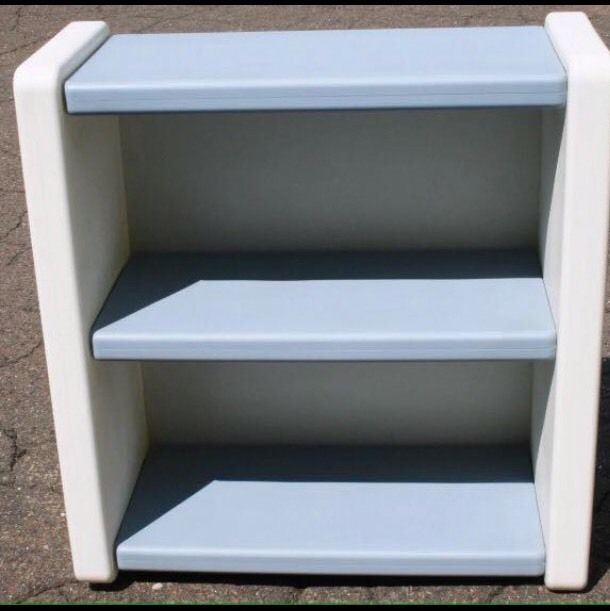 Vintage Little Tikes Blue White Bookcase 2 Shelf Child Size Book Case