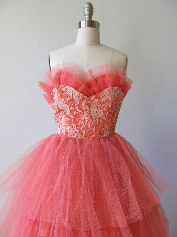 1950s Party Dress / 50s Strapless Prom Dress/ Cupcake Dress / Coral ...