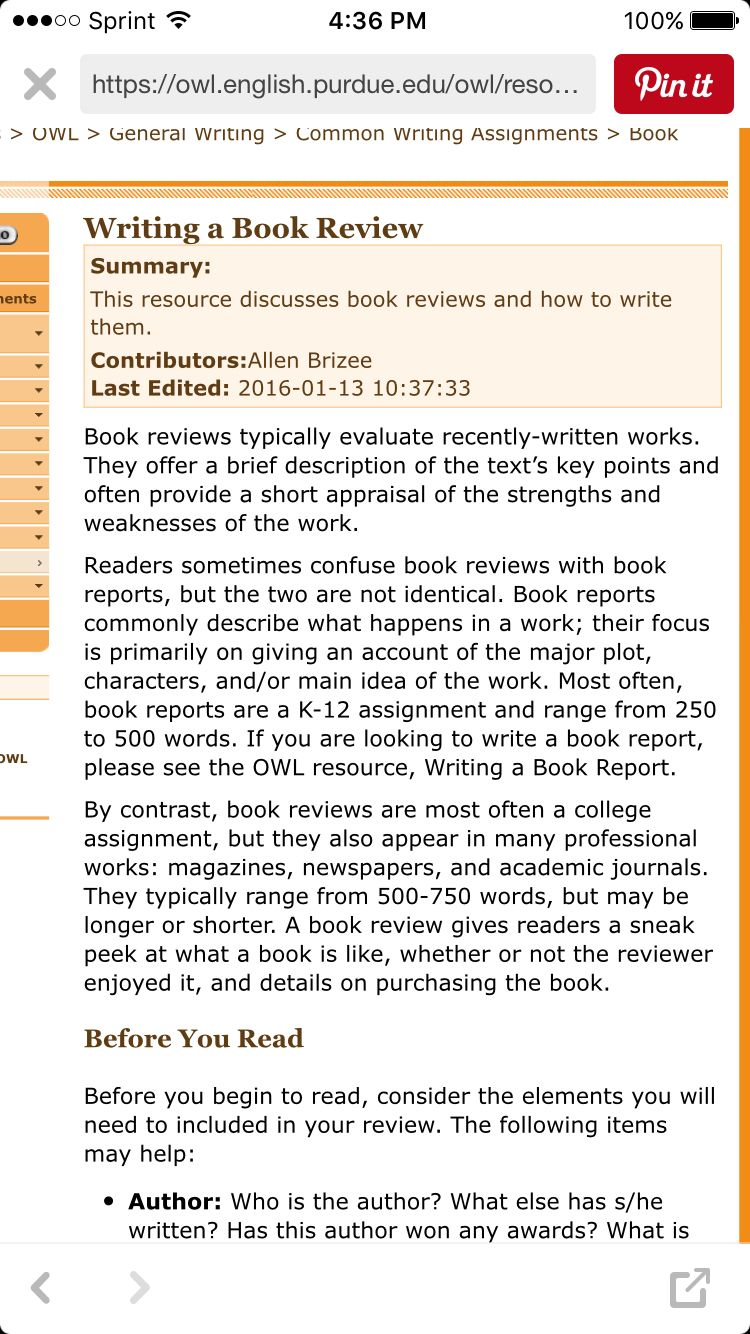Purdue OWL How To Write A Book Review Owlenglish