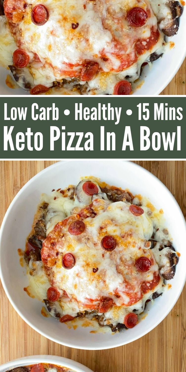 Keto Pizza In A Bowl - Enjoy all the flavors of a pizza neatly served in a bowl, minus the carbs! Easy 15 minute recipe that's kid-friendly and perfect for lunch or dinner!   #keto #Ketorecipes #Ketodiet #ketopizza #pizzarecipes #pizza #Pizzainabowl #inabowl #dinnerideas #food #recipes
