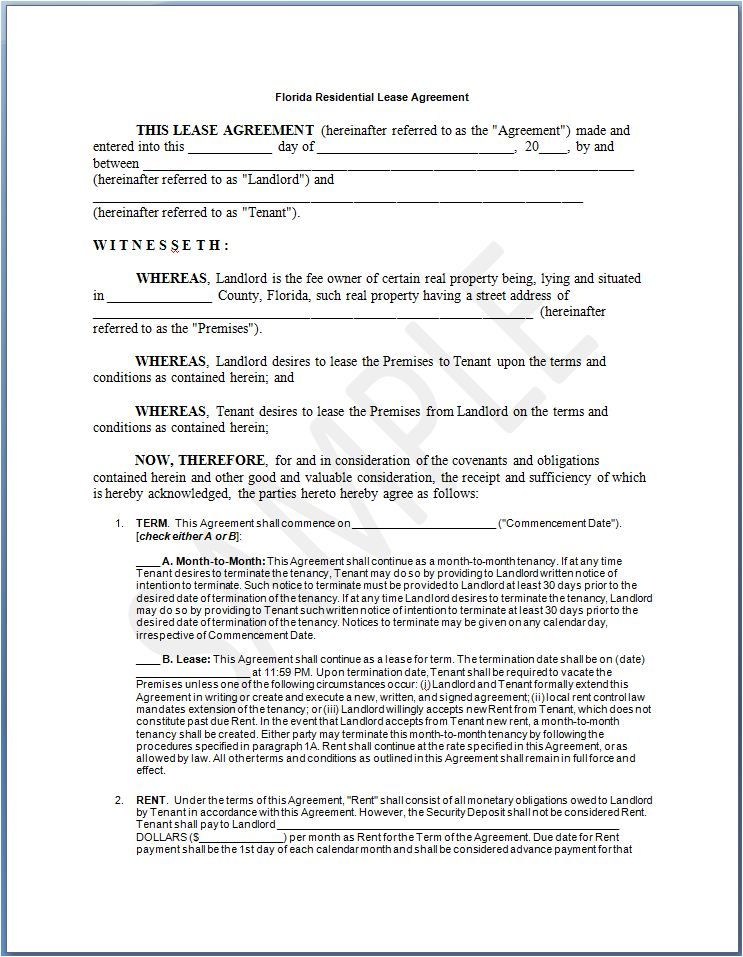 Printable Sample Residential Lease Agreement Template Form  Lease To Buy Agreement Template