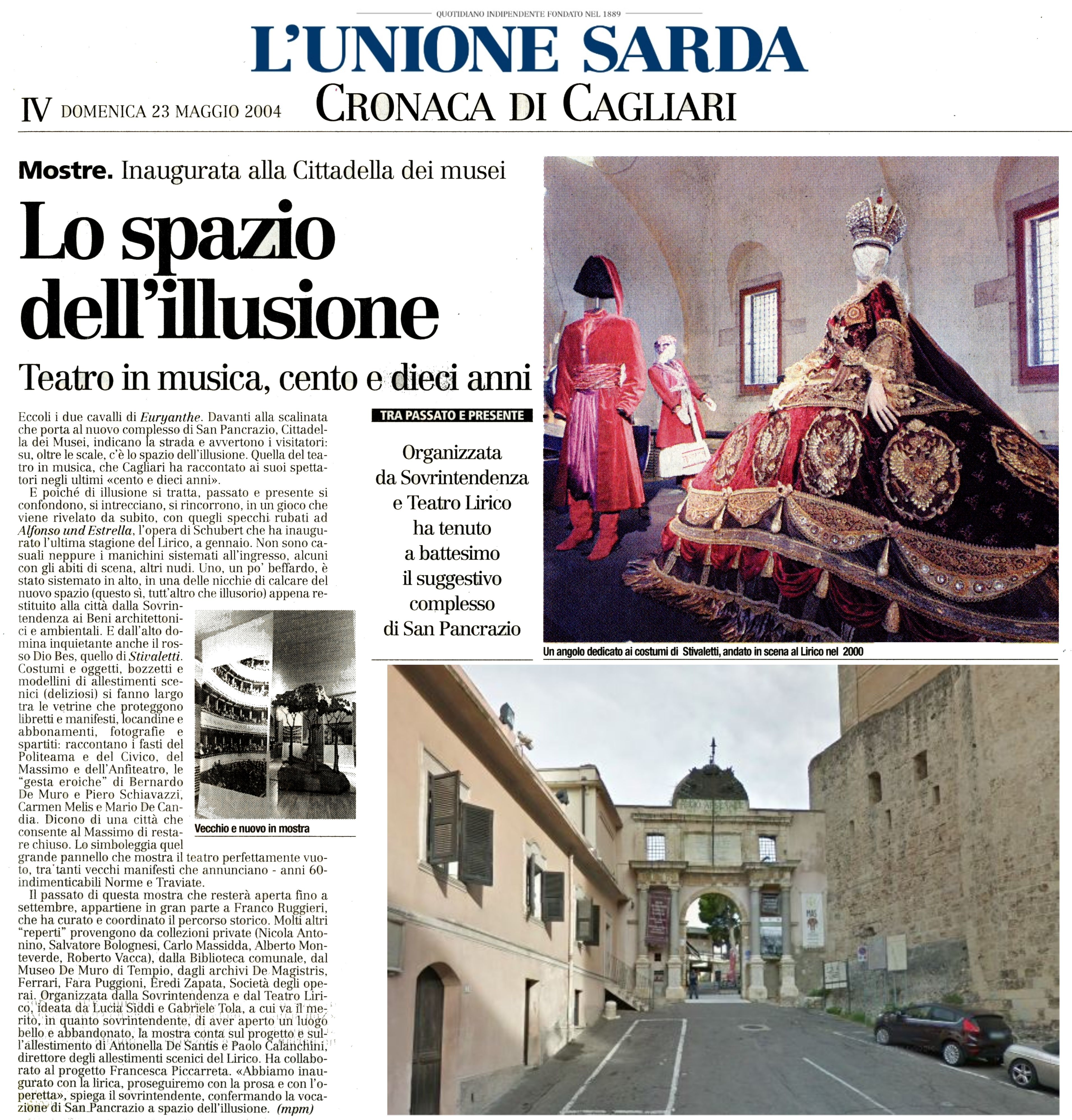 """L'Unione Sarda. 23 maggio 2004. MPM. """"Mostre. Inaugurata ..."""