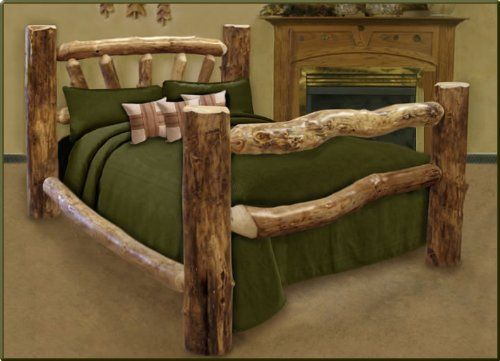 queen size custom aspen log bed each bed will come with four 4 rounded end posts two headboard rails and footboard rails two side rails five headboard